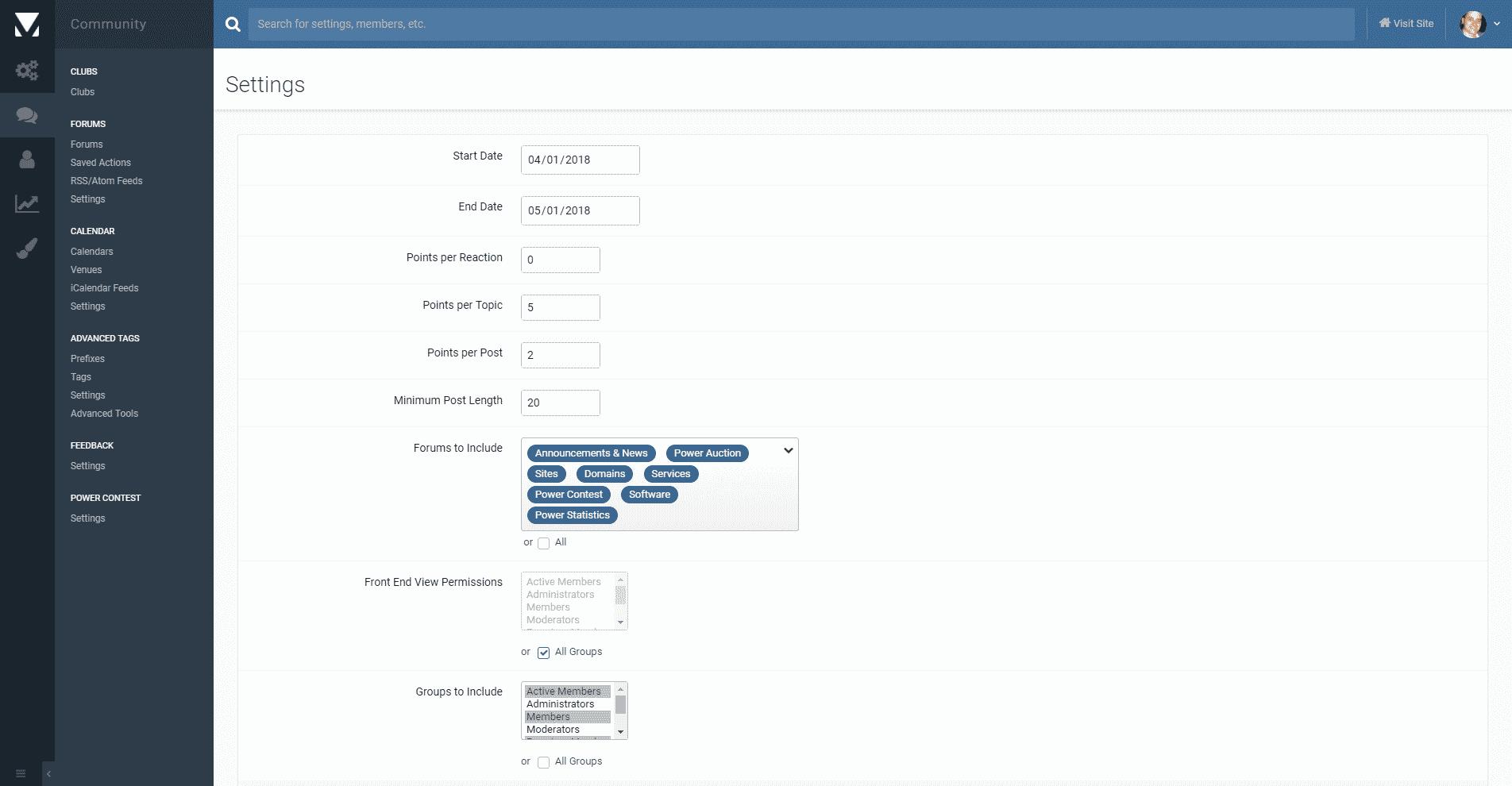 Admin View - Power Contest Plugin - Invision Power Board - IP.Board